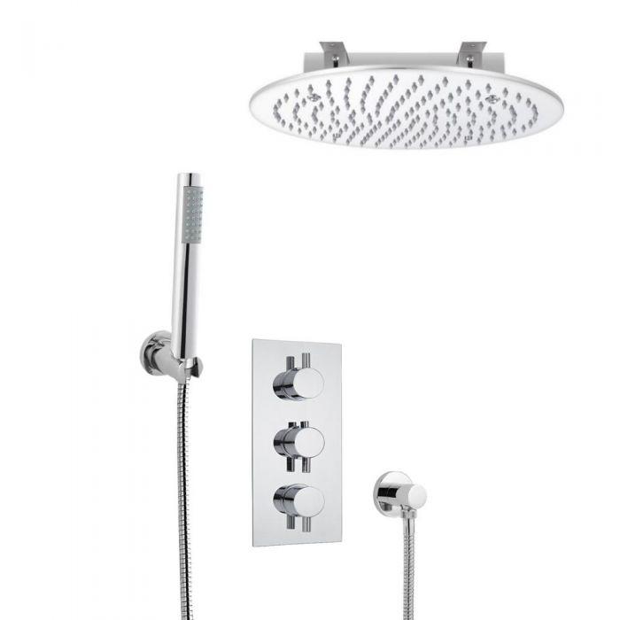 Kit de Douche Thermostatique Encastrable à Pommeau Ø 40cm & Douchette Design Rond Fonctions distinctes ou simultanées