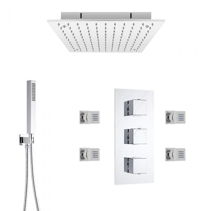 Kit de Douche Thermostatique Encastrable Pommeau Plafonnier 40cm Douchette & 4 Buses