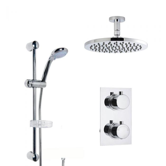 Douche Encastrable à Pommeau Plafond Rond 20cm & Douchette Porte-savon