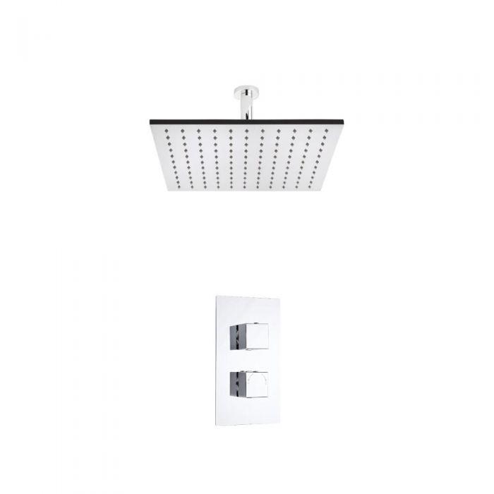Kit de Douche Thermostatique Encastrable à Pomme Plafond Carrée 40x40cm
