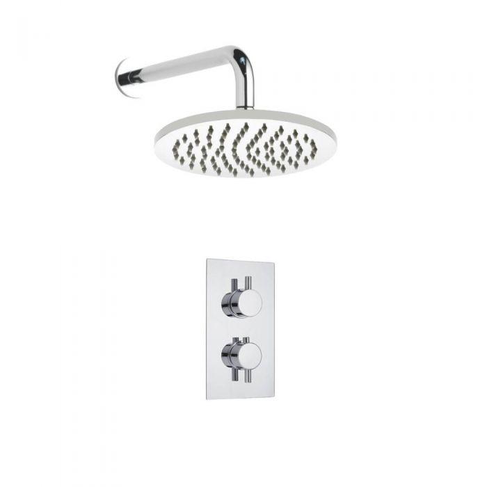 Kit de Douche Thermostatique Encastrable à Pommeau Ø 20cm Design Minimaliste Rond