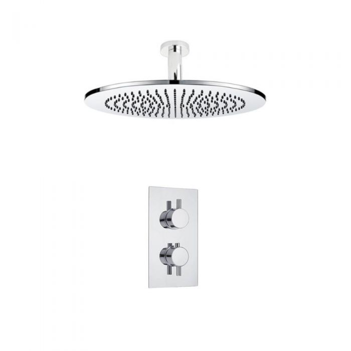 Kit de Douche Thermostatique Encastrable à Pommeau Ø 30cm Design Minimaliste Rond