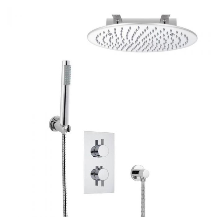 Kit de Douche Thermostatique Encastrable Pommeau Plafond Ø 40cm & Douchette Design Rond
