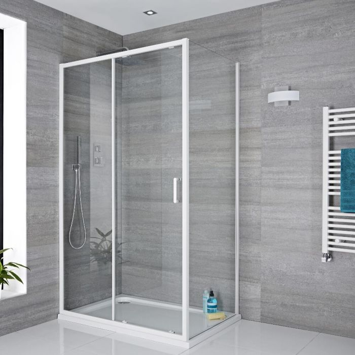 Porte de douche coulissante 110x195cm Retour & Receveur Blanc 80x110cm Lux