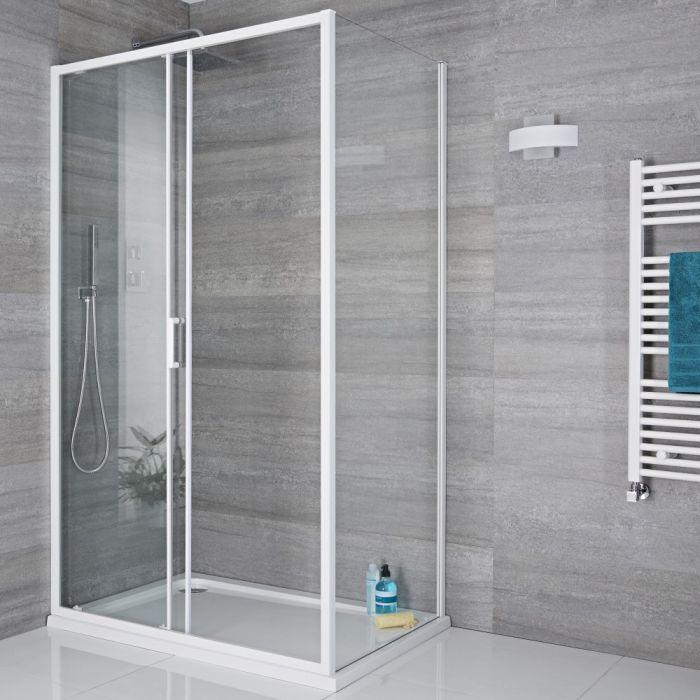 Paroi de douche latérale fixe 80cm Lux Blanc