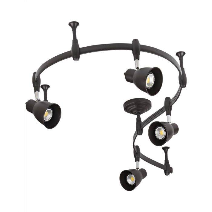 Biard Spot LED Pack de 4 & Rail flexible 2m Panza Noir