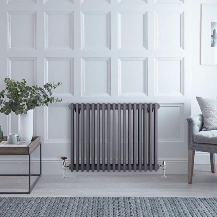 Radiateur Horizontal Style Fonte Anthracite Windsor 60cm x 76,5cm x 10cm 1386 Watts