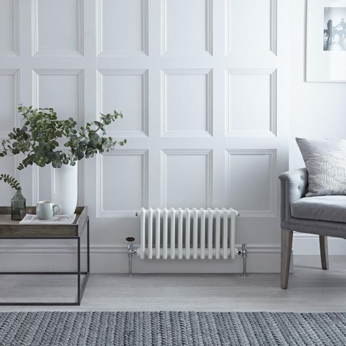 Radiateur Horizontal Style Fonte Blanc Windsor 30cm x 60,8cm x 6,8cm 414 Watts