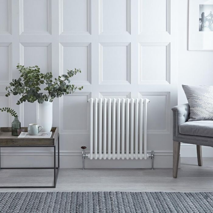Radiateur Horizontal Style Fonte Blanc Windsor 60cm x 60,8cm x 6,8cm 738 Watts