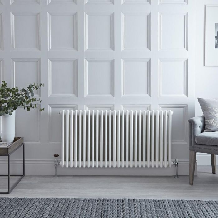 Radiateur Horizontal Style Fonte Blanc Windsor 60cm x 116cm x 10cm 1900 Watts
