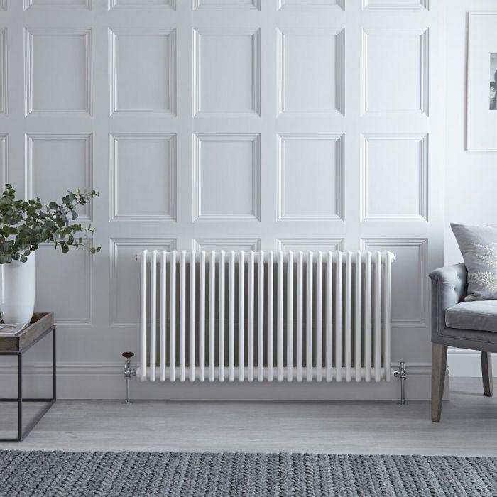 Radiateur Horizontal Style Fonte Blanc Windsor 60cm x 117cm x 13,3cm 2467 Watts