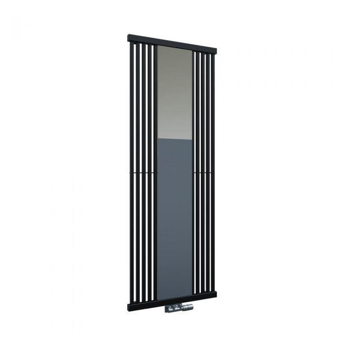 Lublin - Radiateur Vertical Design Noir Avec Miroir 170cm x 64cm