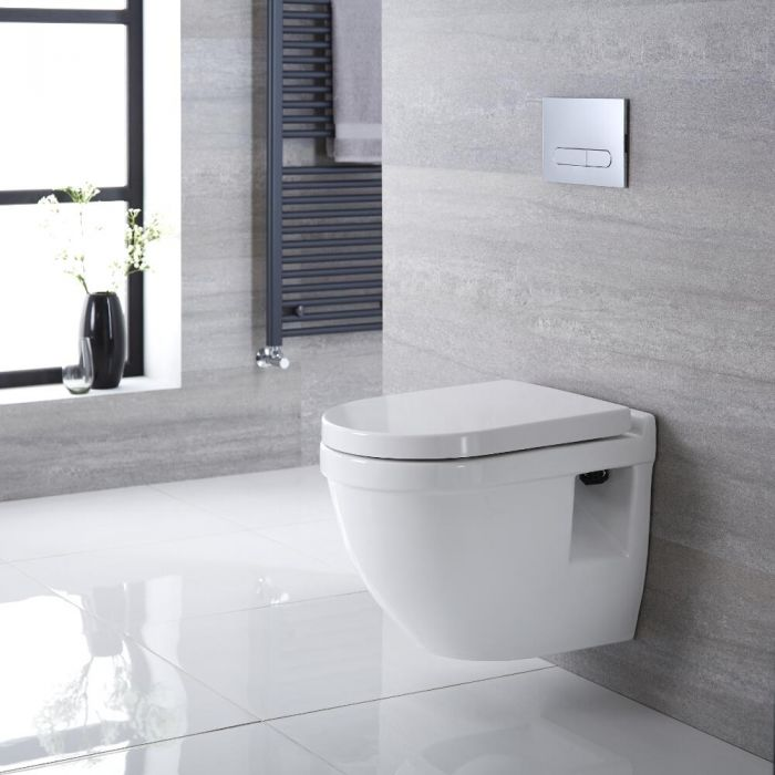 Pack WC Suspendu Belstone - Bâti-support 82x40x15/20cm & Plaque de Déclenchement au Choix