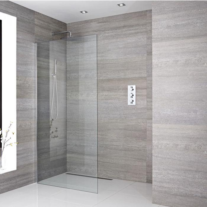 Paroi de douche 90x195cm avec bras stabilisateur recoupable & Choix de Caniveau de Douche Sera