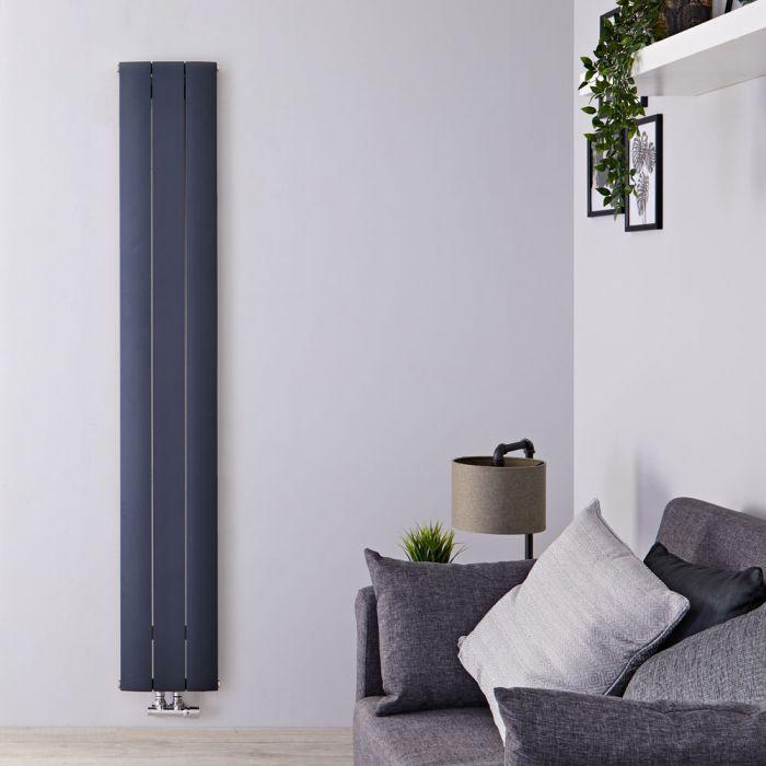 Radiateur Design Vertical Raccordement Central Aluminium Anthracite Aurora 160cm x 28cm x 4,6cm 1021 Watts