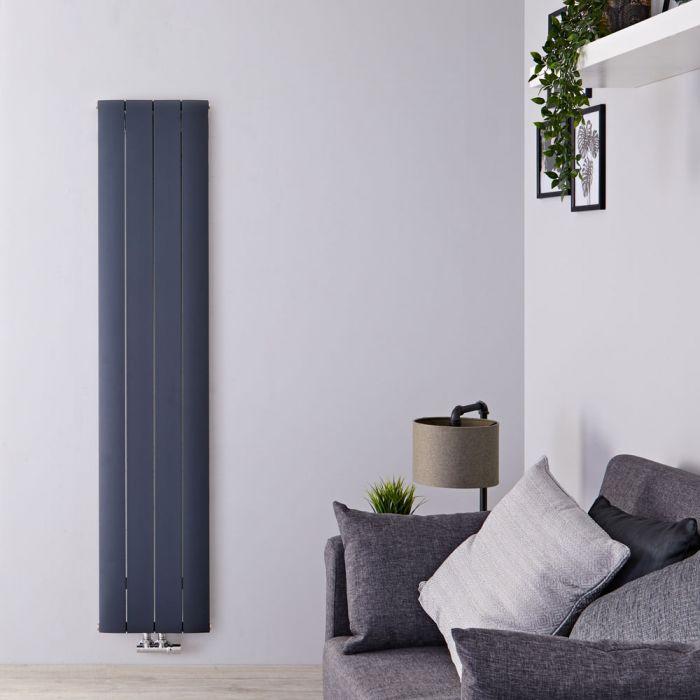 Radiateur Design Vertical Raccordement Central Aluminium Anthracite Aurora 160cm x 37,5cm x 4,6cm 1361 Watts