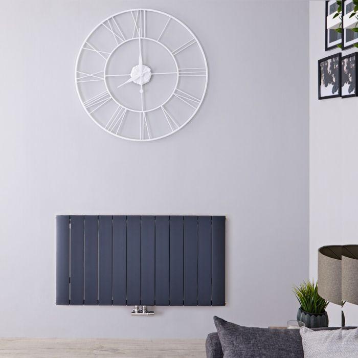 Radiateur Design Horizontal Raccordement Central Aluminium Anthracite Aurora 60cm x 113,5cm x 4,6cm 1535 Watts
