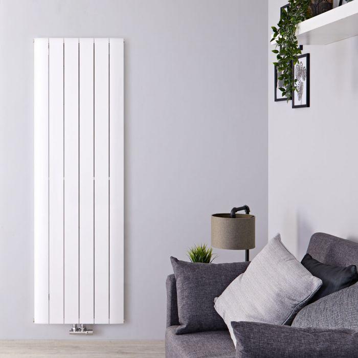 Radiateur Design Vertical Raccordement Central Aluminium Blanc Aurora 180cm x 56,5cm x 4,6cm 2303 Watts