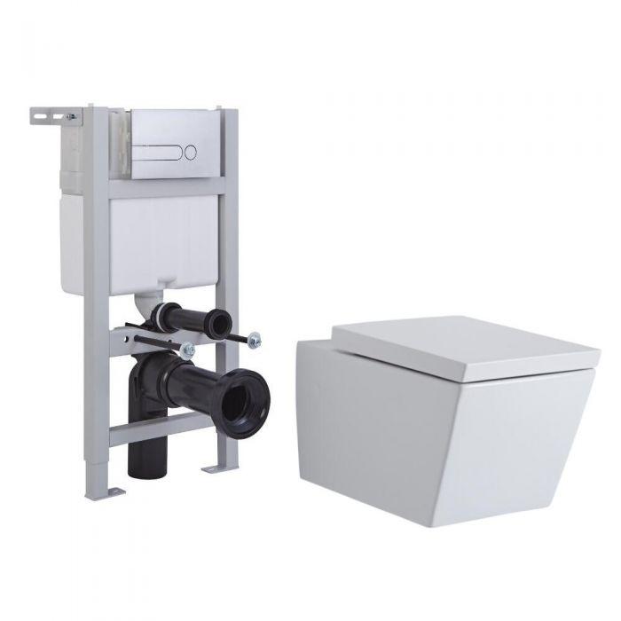 Pack WC Suspendu Halwell - Bâti-support 82x40x15/20cm & Plaque de Déclenchement au Choix