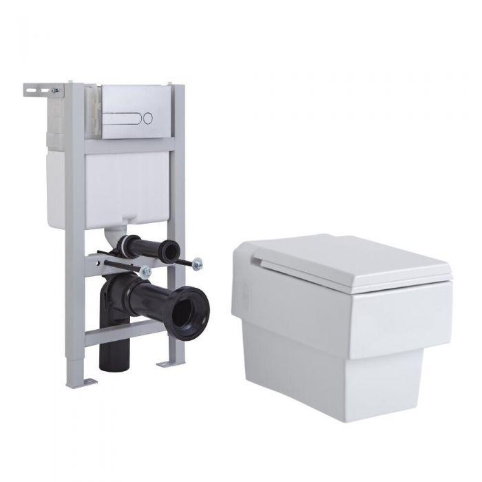 Pack WC Suspendu Haldon - Bâti-support 82x40cm & Plaque de Déclenchement - Choix parmi 4 Modèles