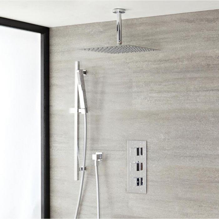 Douche Encastrable Thermostatique Pommeau 40cm & Douchette Design Cubique