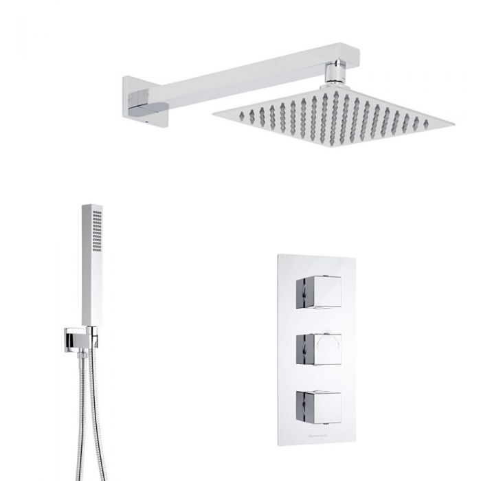Kit Douche Thermostatique encastrable Cubique 3 Fonctions Pommeau 20x20cm & Douchette