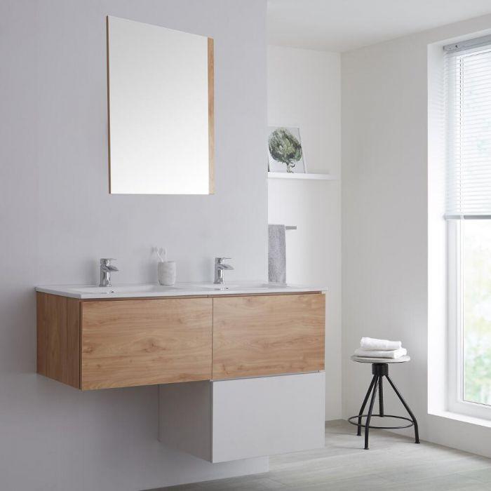 Meuble salle de bain avec vasque Blanc & Chêne Newington - 120cm