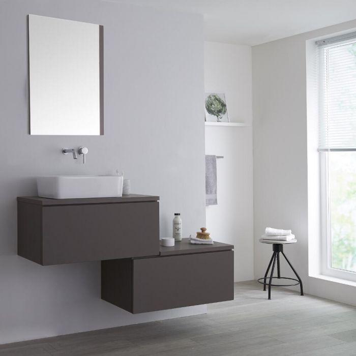 Meuble pour vasque à poser Gris & Blanc Newington - 140cm