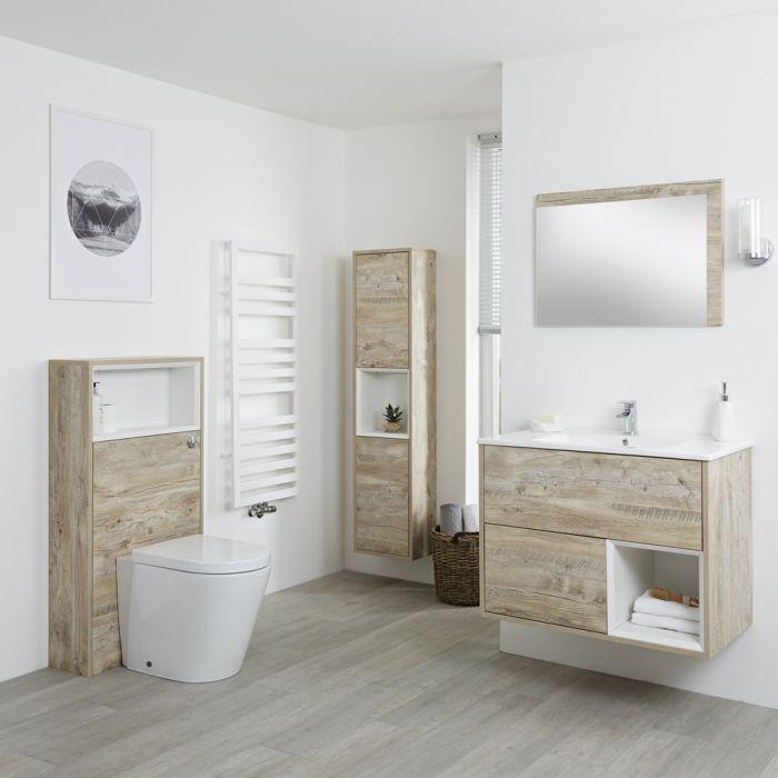 Ensemble de meubles de salle de bain - Meuble-lavabo, colonne de rangement, miroir & pack WC - Chêne clair Hoxton