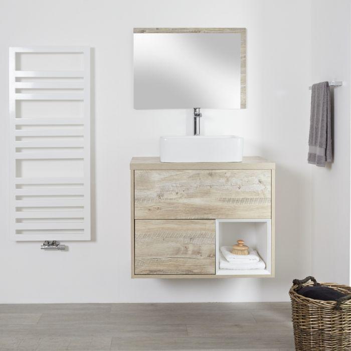 Meuble salle de bain chêne clair avec vasque à poser - 80cm - 2 tiroirs