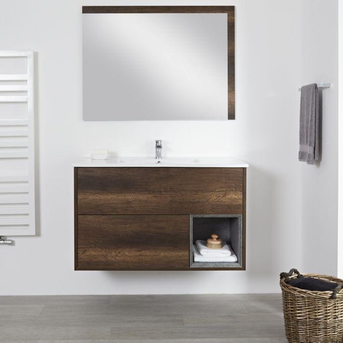 Meuble salle de bain chêne foncé avec vasque encastrée - 46,5 x 101cm