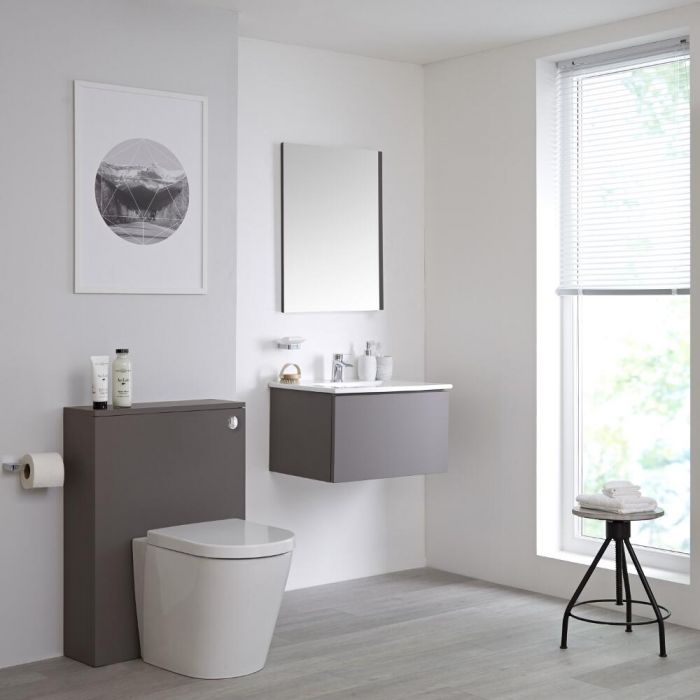 Meuble Lavabo Newington 60cm & Pack WC Gris Mat