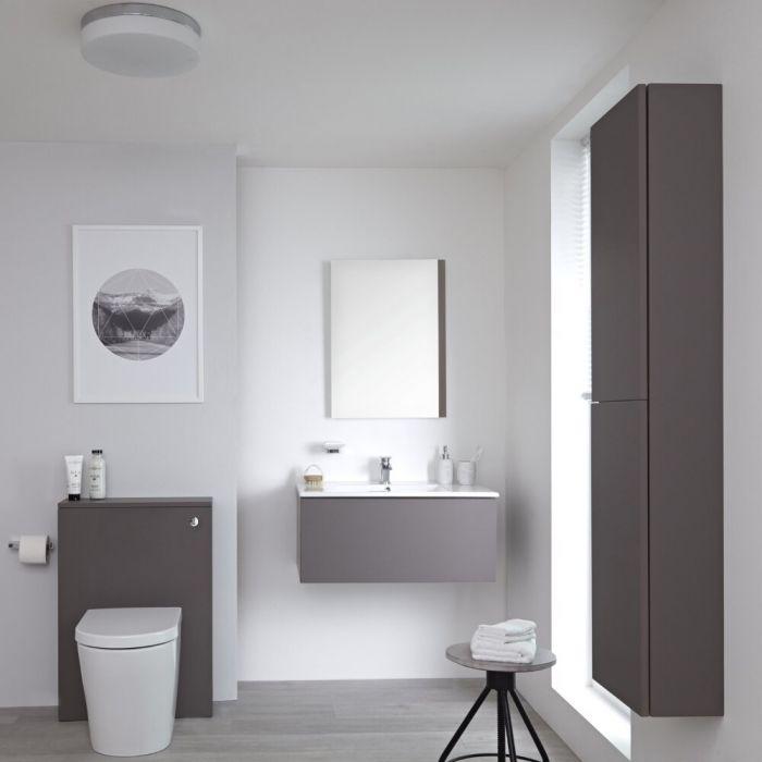 Meuble Lavabo Newington 80cm Gris Mat - Pack WC & Miroir