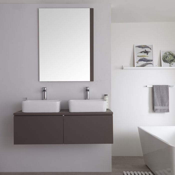 Meuble Double vasque carrée 120cm Newington Gris Mat