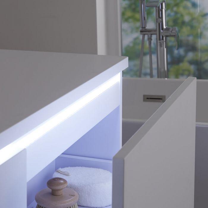 Meuble Double vasque carrée 120cm Newington Blanc Mat