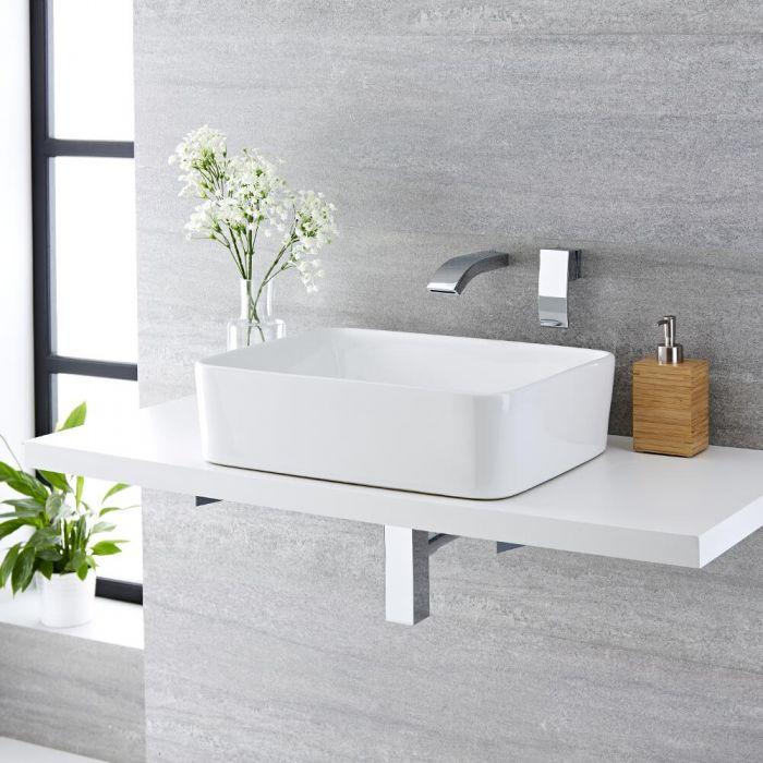 Vasque à poser rectangulaire Alswear 48 x 37cm & Mitigeur Mural Razor
