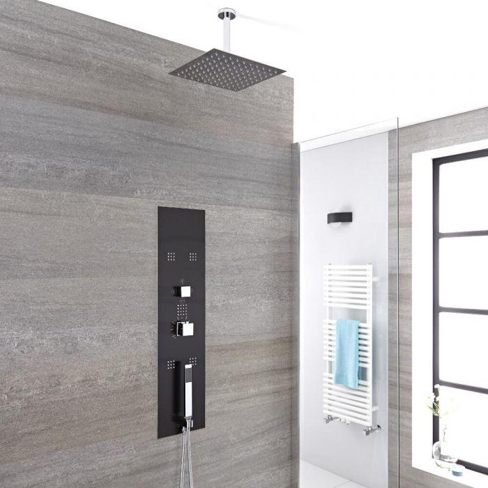 Colonne de Douche Thermostatique Encastrable 90x22cm - Douchette - 5 Buses & Pommeau plafond 20cm - Gamme Llis