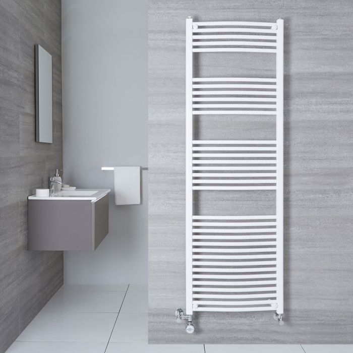 Hudson Reed Sèche-Serviettes Mixte Incurvé Blanc Etna 180cm x 60cm x 5cm 1138 Watts