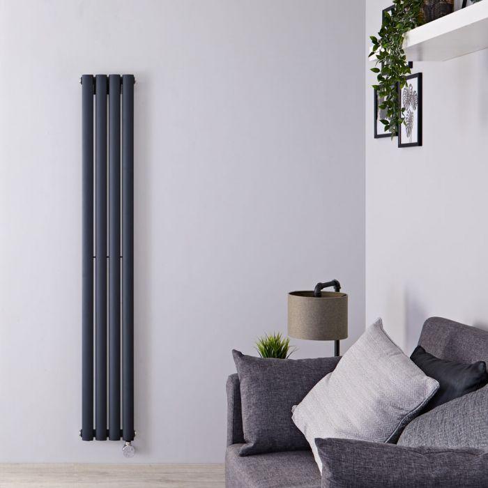 Radiateur Design Électrique Vertical Anthracite Vitality 160cm x 23,6cm x 5,6cm