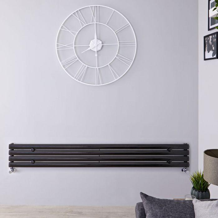 Radiateur Design Horizontal Noir Vitality 23,6cm x 160cm x 5,6cm 518 Watts