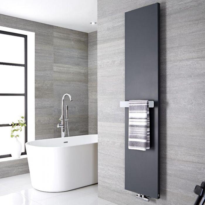 Radiateur vertical anthracite 180x50cm Rubi & Barre porte serviette 42x6cm