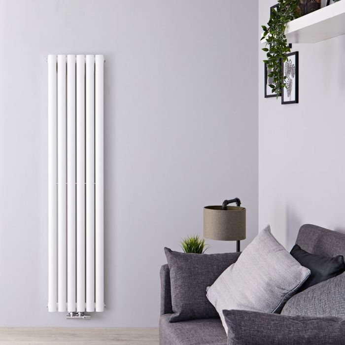 Radiateur Design Vertical Raccordement Central Blanc Vitality Caldae 160cm x 35,4cm x 7,8cm 1289 Watts