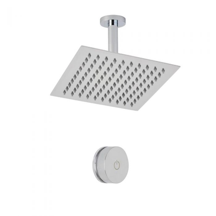 Douche Digitale Thermostatique 1 Fonction & Pommeau de Douche Plafond 20x20cm - Narus