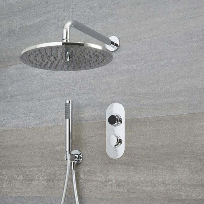 Douche Digitale Thermostatique 2 Fonctions - Pommeau Ø 30cm Mural & Douchette - Narus