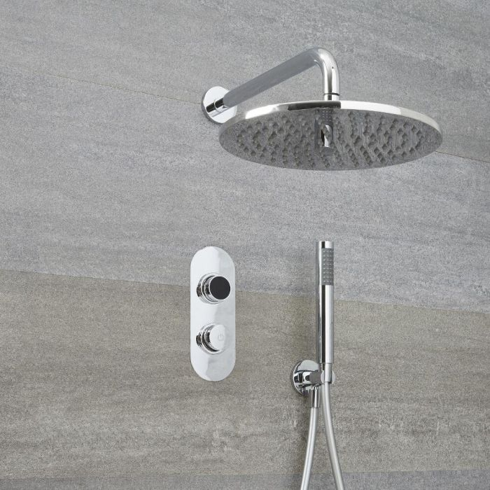 Douche Digitale Thermostatique 2 Fonctions - Pommeau Ø 30cm Mural & Douchette - Narus