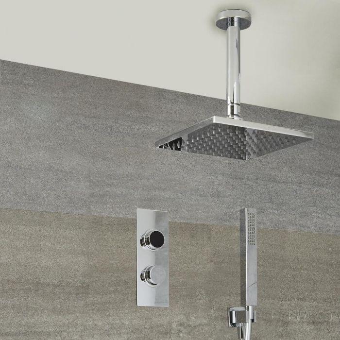 Douche Digitale Thermostatique 2 Fonctions - Pommeau Plafond 40x40cm & Douchette - Narus