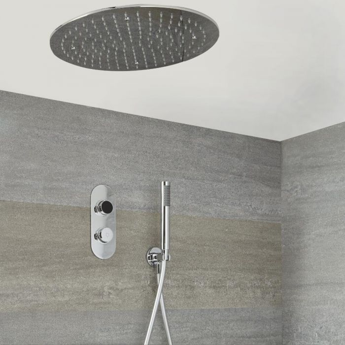 Douche Digitale Thermostatique 2 Fonctions - Pommeau Plafonnier Ø 40cm & Douchette -Narus