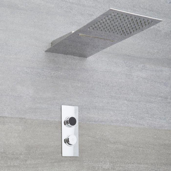 Douche Digitale Thermostatique 2 Fonctions - Pommeau Cascade 20x50cm - Design carré  - Narus