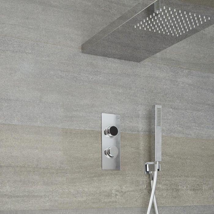 Douche Digitale Thermostatique 2 Fonctions - Pommeau Douche Italienne 25x80cm & Douchette -Narus