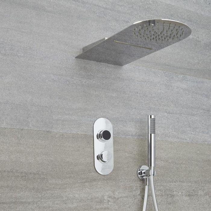Douche Digitale Thermostatique 2 Fonctions - Pommeau Cascade 20x50cm - Design circulaire  - Narus